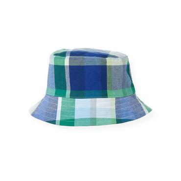 Boys Cobalt Blue Plaid Reversible Plaid Bucket Hat at JanieandJack