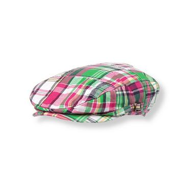 Boys Magenta Plaid Patchwork Plaid Cap at JanieandJack