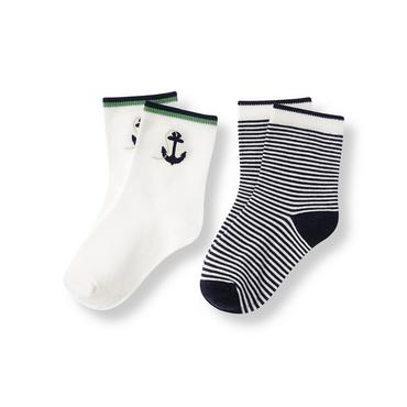 Boys Pure White/Classic Navy Stripe Anchor Stripe Sock Two-Pack at JanieandJack