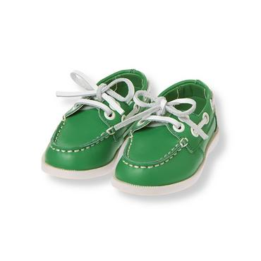 Nautical Green Leather Boat Shoe at JanieandJack