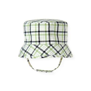 Baby Boy Grass Green Check Plaid Bucket Hat at JanieandJack
