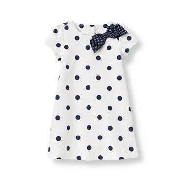 Pure White Dot Bow Dot Ponte Dress at JanieandJack