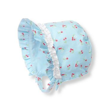 Baby Girl Strawberry Floral Strawberry Ruffle Bonnet at JanieandJack