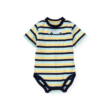 Yellow Stripe Convertible Car Stripe Bodysuit at JanieandJack
