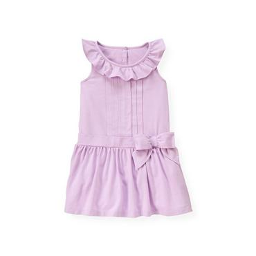 Purple Petunia Pintucked Bow Knit Dress at JanieandJack