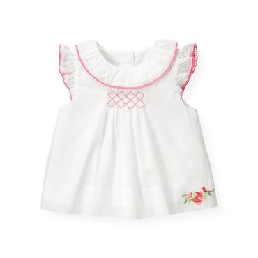 Baby Girl Pure White Hand-Smocked Voile Top at JanieandJack