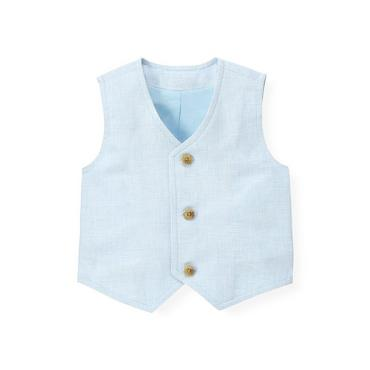 Baby Boy Pale Blue Houndstooth Linen Blend Vest at JanieandJack