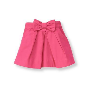 Fuchsia Rose Bow Twill Skirt at JanieandJack