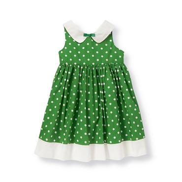 Kelly Green Dot Collared Dot Dress at JanieandJack