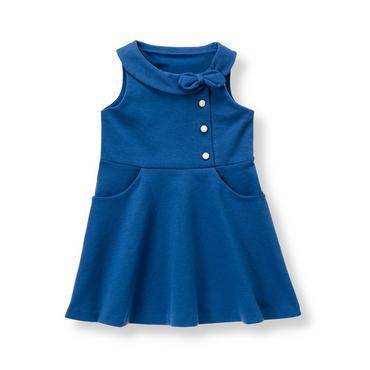 Edwardian Blue Collared Ponte Dress at JanieandJack