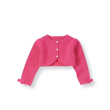Fuchsia Rose Button Crop Cardigan at JanieandJack