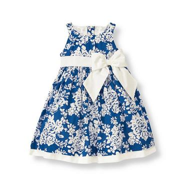 Edwardian Blue Floral Floral Bow Dress at JanieandJack