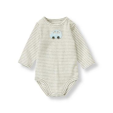 Baby Boy Heather Grey Stripe Car Stripe Bodysuit at JanieandJack