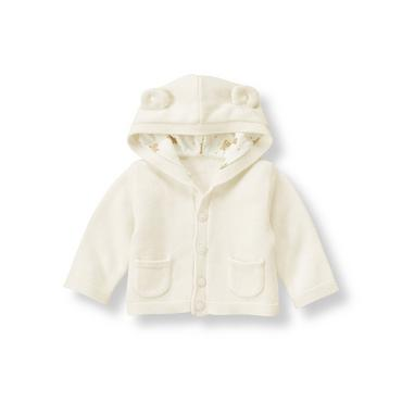 Jet Ivory Honey Bear Hooded Sweater Cardigan at JanieandJack