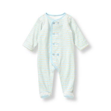 Baby Boy Feather Blue Stripe Stripe Velour One-Piece at JanieandJack