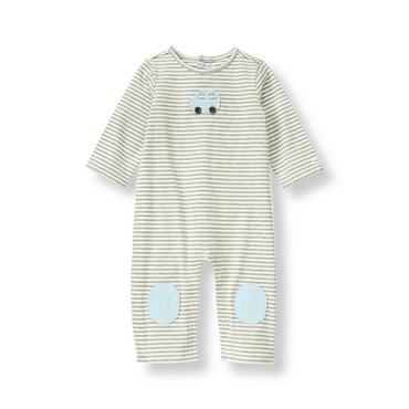 Baby Boy Heather Grey Stripe Car Stripe One-Piece at JanieandJack