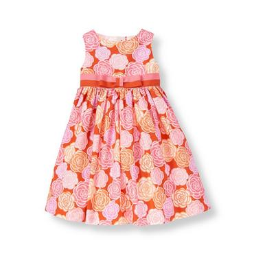 Candied Orange Floral Ribbon Bow Floral Dress at JanieandJack