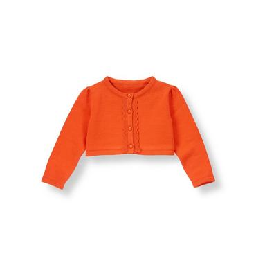 Candied Orange Ruffle Placket Crop Cardigan at JanieandJack