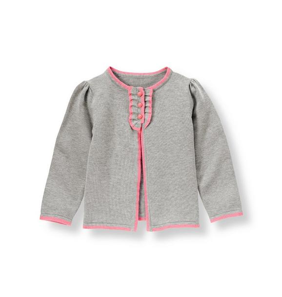 Tipped Ruffle Placket Cardigan