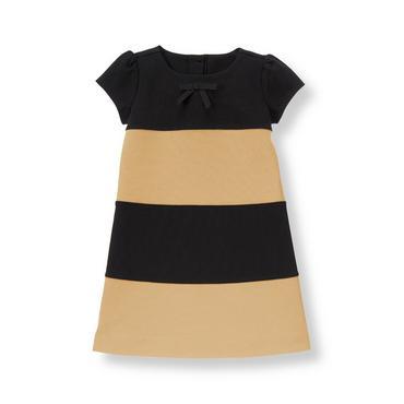 Tan Stripe Colorblock Ponte Dress at JanieandJack