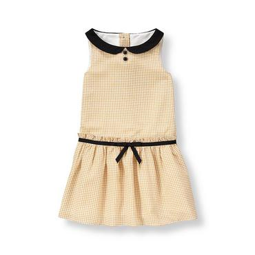 Tan Minicheck Houndstooth Crepe Dress at JanieandJack