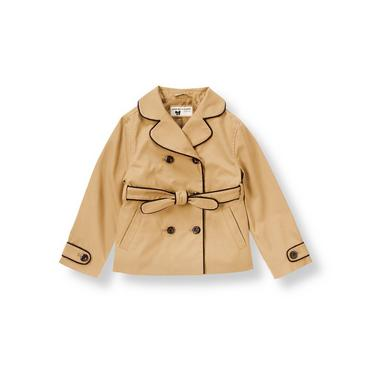 Tan Piped Trench Coat at JanieandJack