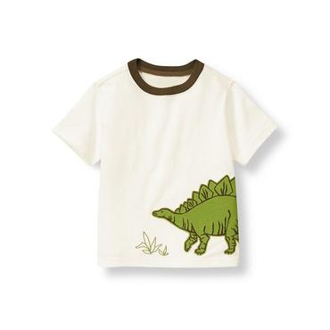 Boys Pure White Stegosaurus Tee at JanieandJack