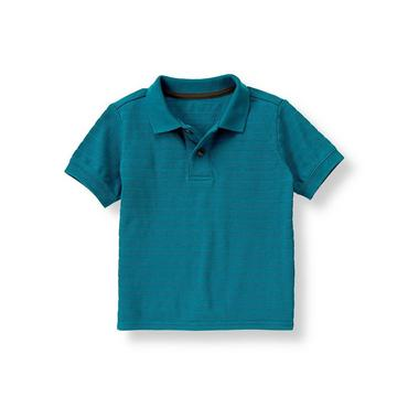 Boys Blue Stone Textured Polo Shirt at JanieandJack