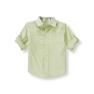 Boys Reed Green Ministripe Roll Cuff Shirt at JanieandJack