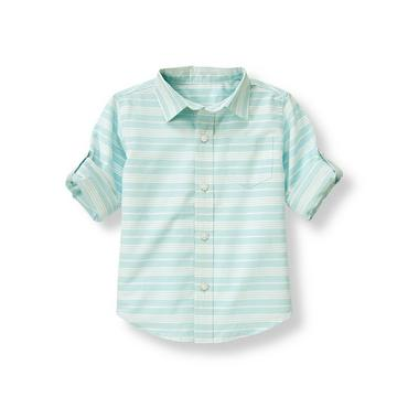 Boys Light Blue Stripe Dobby Stripe Roll Cuff Shirt at JanieandJack