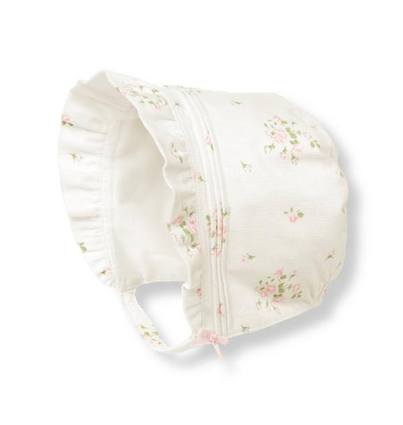 Rosette Floral Corduroy Bonnet