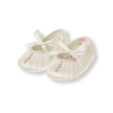Baby Girl Jet Ivory Rosette Sateen Crib Shoe at JanieandJack