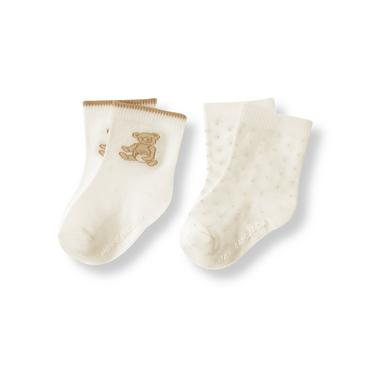 Jet Ivory Honey Bear Dot Sock Two-Pack at JanieandJack