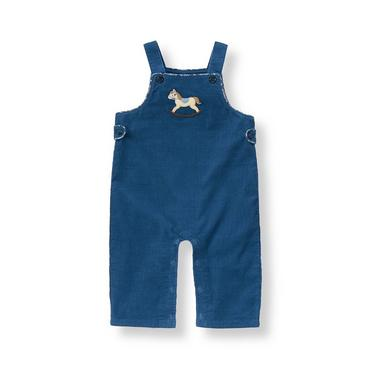 Baby Boy Charming Blue Rocking Horse Corduroy Overall at JanieandJack