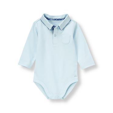 Baby Boy Cloud Blue Polo Knit Bodysuit at JanieandJack