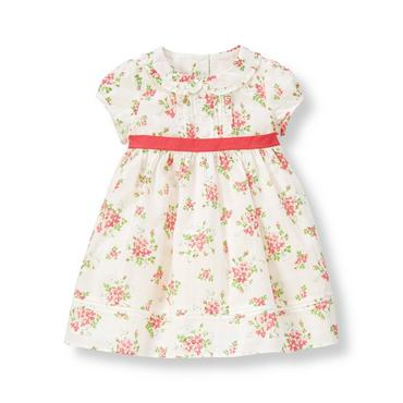 Baby Girl Berry Rose Floral Pintucked Floral Dress at JanieandJack