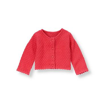 Baby Girl Berry Rose Sweater Cardigan at JanieandJack