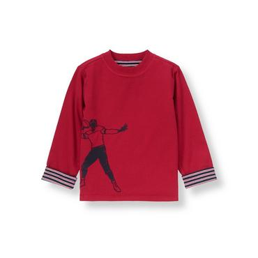Campus Red Football Reversible Tee at JanieandJack