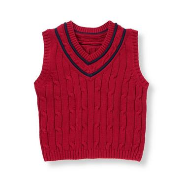 Campus Red Tipped Cable Sweater Vest at JanieandJack