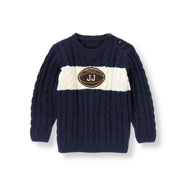 Champion Navy Football Stripe Sweater at JanieandJack