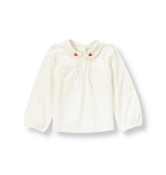 Floral Embroidered Collar Top