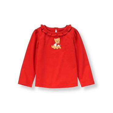 Metropolitan Red Puppy Ruffle Top at JanieandJack