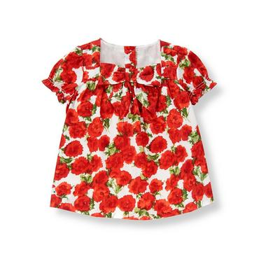 Metropolitan Red Floral Floral Bow Top at JanieandJack