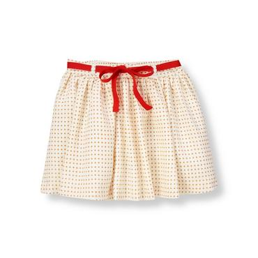 Tan Dot Ribbon Dot Chiffon Skirt at JanieandJack