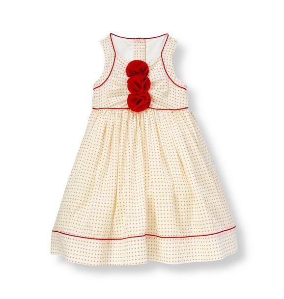 Corsage Dot Sateen Dress
