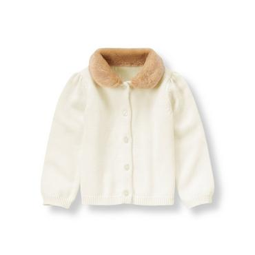 Jet Ivory Faux Fur Collar Cardigan at JanieandJack