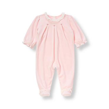 Baby Girl Barely Pink Rosette Ruffle Velour One-Piece at JanieandJack