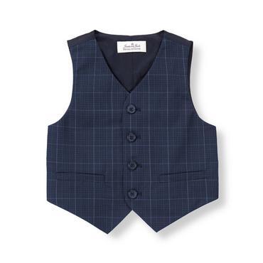 Rich Navy Plaid Glen Plaid Suit Vest at JanieandJack