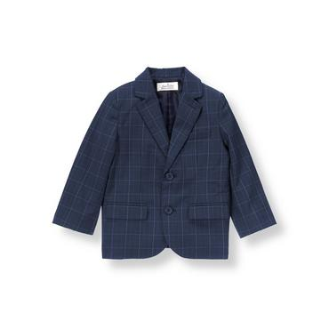 Rich Navy Plaid Glen Plaid Suit Blazer at JanieandJack