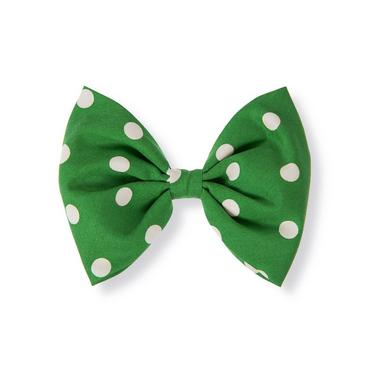 Kelly Green Dot Dot Poplin Bow Barrette at JanieandJack
